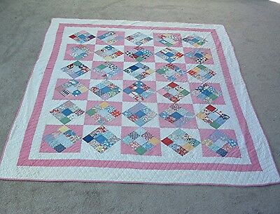 Antique 1930's Hanging Nine Patch Pattern Cotton Feed Sack Heirloom Quilt