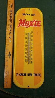 RARE MOXIE SODA TIN LITHO THERMOMETER/SIGN-LOWELL MASS-16x6-WORKING-VERY NICE!!