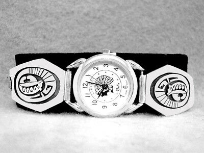 Navajo Watch Bears Sterling Silver Ladies Native American Indian Oversized