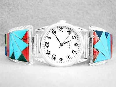 Mens Watch Navajo Turquoise Lapis Spiny Inlay Sterling Silver Native American