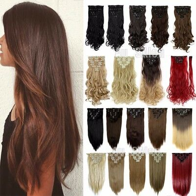 Best Quality Full Head Clip in Hair Extensions Brown Black Straight Curly Hair