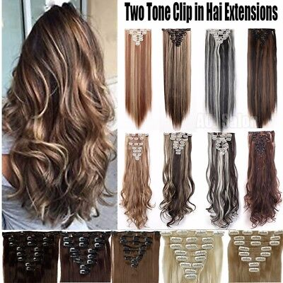 Real Thick Clip In Natural Hair Extensions New Curly Full Head 8 PCS Ombre QA6
