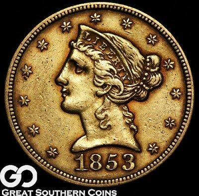 1853 Half Eagle, $5 Gold Liberty, Early Collector Gold ** Free Shipping!