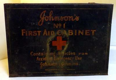 """Antique Johnson's No.1 Tin First Aid Medicine Cabinet 11x16x6"""" Wall Hung c1910s"""