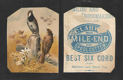 1890s AUTUMN - CLARKS MILE END SPOOL COTTON THREAD VICTORIAN TRADE CARD
