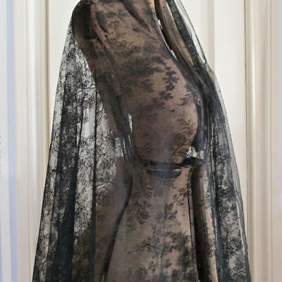 "Antique 19thC HM French Black CHANTILLY LACE Flounce ROSES 40"" W X 80"" Mantilla+"