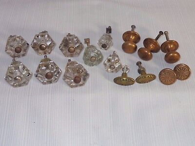 Lot Of  Antique Glass And Brass Dresser Drawer Knob Pulls