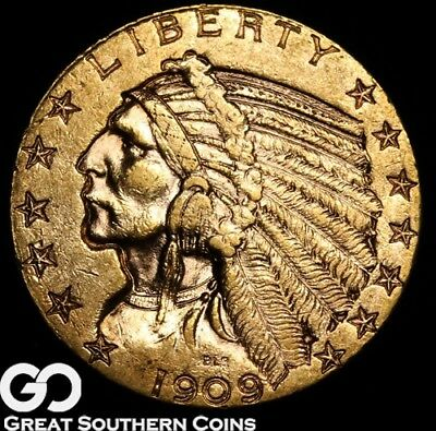 1909 Half Eagle, $5 Gold Indian, Brilliant Uncirculated+++, Gorgeous ** Free S/H