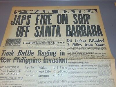Dec. 22, 1941 Los Angeles Newspaper: Wwii Japan Fires On Ship Near Santa Barbara