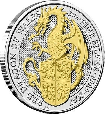 2017 Great Britain 2 oz Silver Queen's Beast Dragon Coin  24k Gold Gilded 1