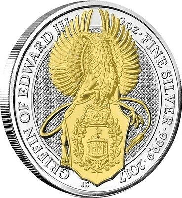 2017 Great Britain 2 oz Silver Queen's Beast Griffin Coin  24k Gold Gilded 1