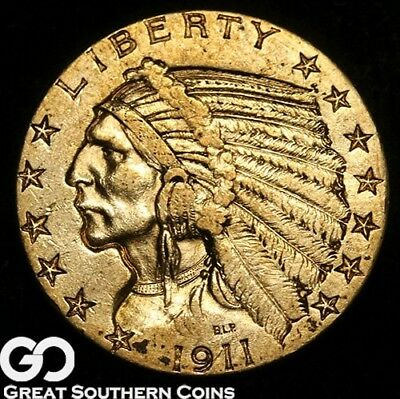 1911 Half Eagle, $5 Gold Indian, Brilliant Uncirculated ** Free Shipping!