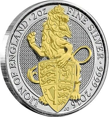 2016 2 oz British Silver Queen's Beasts Lion  24k Gold Gilded  .999 pure Silver