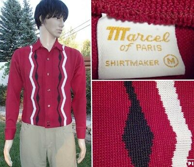 mens vintage argyle sweater cardigan shirt 60's polyester MARCEL of PARIS small
