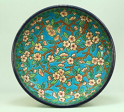 !Antique LONGWY French Enameled Majolica Earthenware Raised Plate Marked #3020