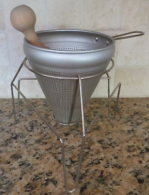 Aluminum Sieve Colander Strainer Stand Wood Pestle Food Mill