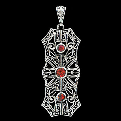 Red Fire Opal 925 Sterling Silver Victorian Style Filigree Pendant Jewelry