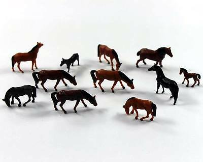 AN8702 60pcs 1:87 Well Painted Farm Animals Horses HO Scale