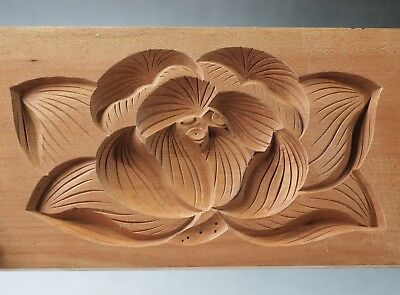 Antique JAPANESE KASHIGATA Hand Carved Wooden Cake Mold with cover - Flower