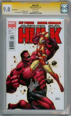 Hulk #25 Variant Cgc 9.8 Signature Series Signed Stan Lee Iron Man Red Marvel