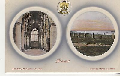Postcard.2 Views.Kirkwall,The Nave, St Magnus Cathedral:Stennis Standing Stones