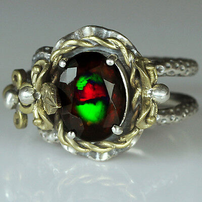 34.35CT Natural 925 Silver Oval Ethiopian Black Opal Vintage Ring COPY37