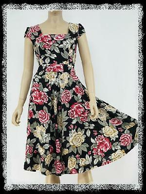 dress190 Black Floral 50s Rockabilly Audrey Tea Daily Swing Prom Party Dress 16