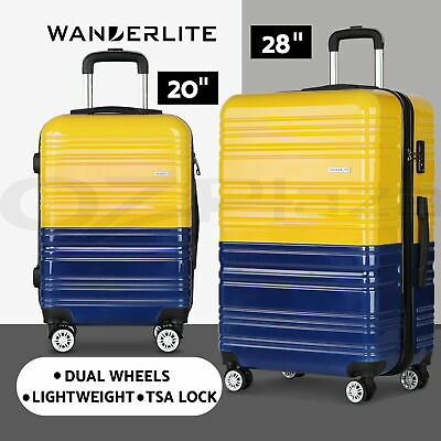 Wanderlite 2pc Luggage Yellow Suitcase Trolley Set TSA Hard Case Lightweight