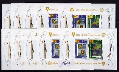 SRI LANKA , 2006 , TEN nice S/S , 50th anniversary of CEPT stamps , MNH !