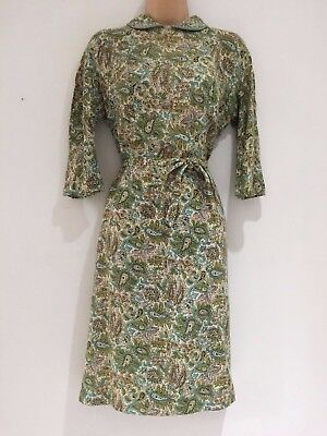 Vintage True 40's Cream Green Blue Floral Paisley WW2 Era Belted Tea Dress 12-14