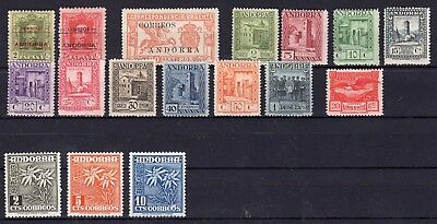 ANDORRA ( spanish ) 1929 , nice lot of stamps EX long set , all with no.  , MH