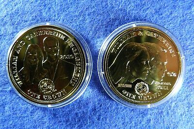 2 x Elizabeth II Tristan da Cunha William and Catherine Crown Coins Gold Plated