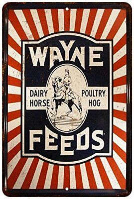 "Wayne Feeds Horse Poultry Hog Vintage Retro Metal Sign 8"" x 12"""