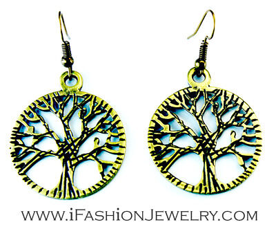 Tree of Life Round Circle Hollow Drop Dangle Earrings Bronze Gold Tone Jewelry