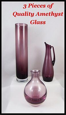 3 Pieces of Vintage Quality Amethyst Decorative Glass