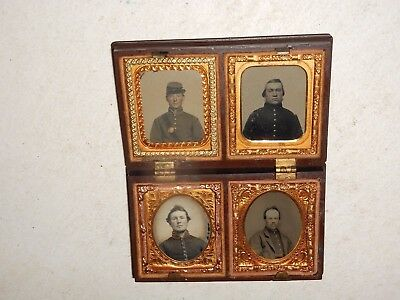 """Civil War Soldiers (4) 1/16 """" Ambrotype """"  """"Rare """" Thermoplastic Case"""