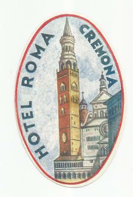 HOTEL ROMA luggage ITALY label (CREMONA)