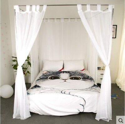 Queen White Yarn Mosquito Net Bedding Four-Post Bed Canopy Curtain Netting .