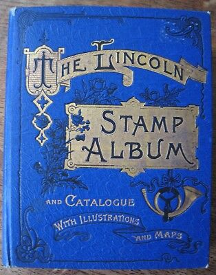 Very Old Lincoln stamp album dated 1907 containing over 1300 stamps