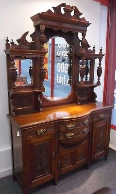 Victorian / Art Nouveau Solid Mahogany Mirror Back Dresser / Wall Unit - C67