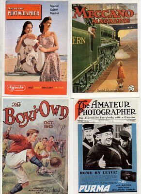 9 MODERN REPRO postcards of VINTAGE MAGAZINE & BOOK COVERS