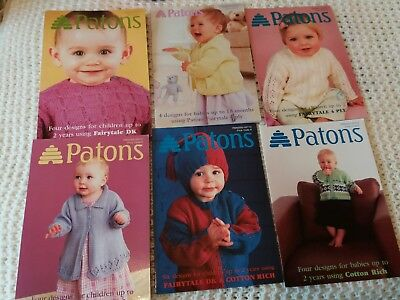 6 Patons Knitting Pattern Books For Babies Up To 2 Yrs Old...new