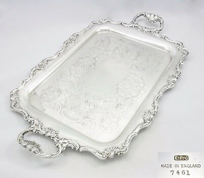 Large Antique Art Nouveau Gallery Serving Butlers Tray Silver Plate Chased Vgc