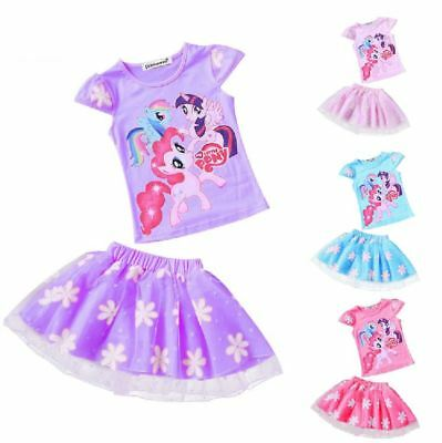 My Little Pony Girls Outfit Set Short Sleeve Top Tutu Skirt Party Kids Clothes