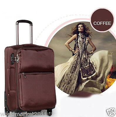 !4 Brown Fashion L38*W24*H62CM Polyester Travel Suitcase/Luggage Trolley