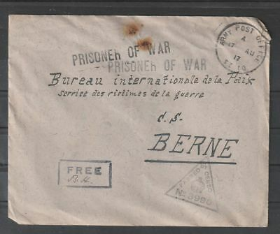 Egypt P.O.W Camp Meadi 1917 cover to Switzerland