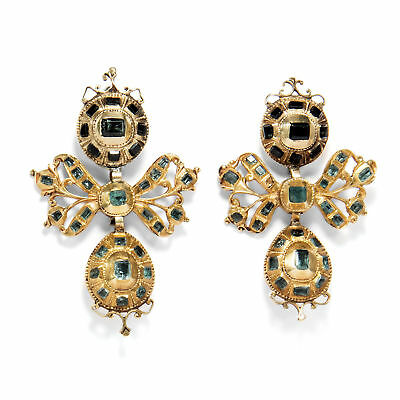 Spain UM 1760: Antique 900 Gold Earrings with Emeralds Emerald / Lazo Drop