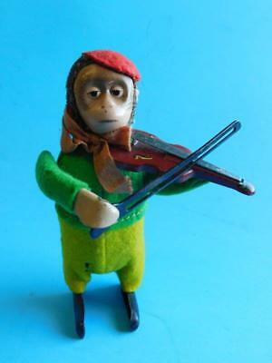 German SCHUCO Patent Tin plate Wind up Monkey playing Violin Toy 1900s Works!