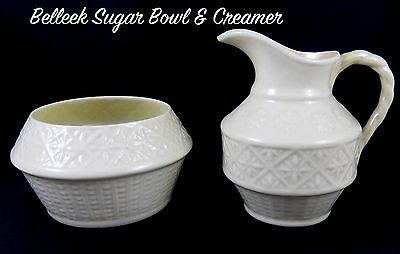 Belleek Porcelain 1st Green Stamp Sugar Bowl & Creamer 46-55