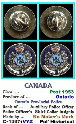 Two Lapel Badges • Canada-ON • Ontario Prov' Pol' - Aux' • Post 1950 • C•1397